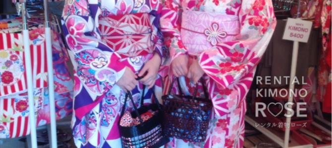 ローズの着物とお揃いの帯とバッグで❤ しっとり美しい京都女子旅✨