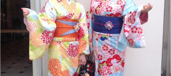 優しい色遣いのお着物とお揃いのカゴバッグ&ヘアスタイルで京都女子旅❤️