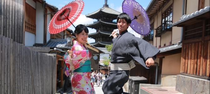 【お客様の声】仲良しカップルさま!浴衣で快晴の京都ロケーション撮影