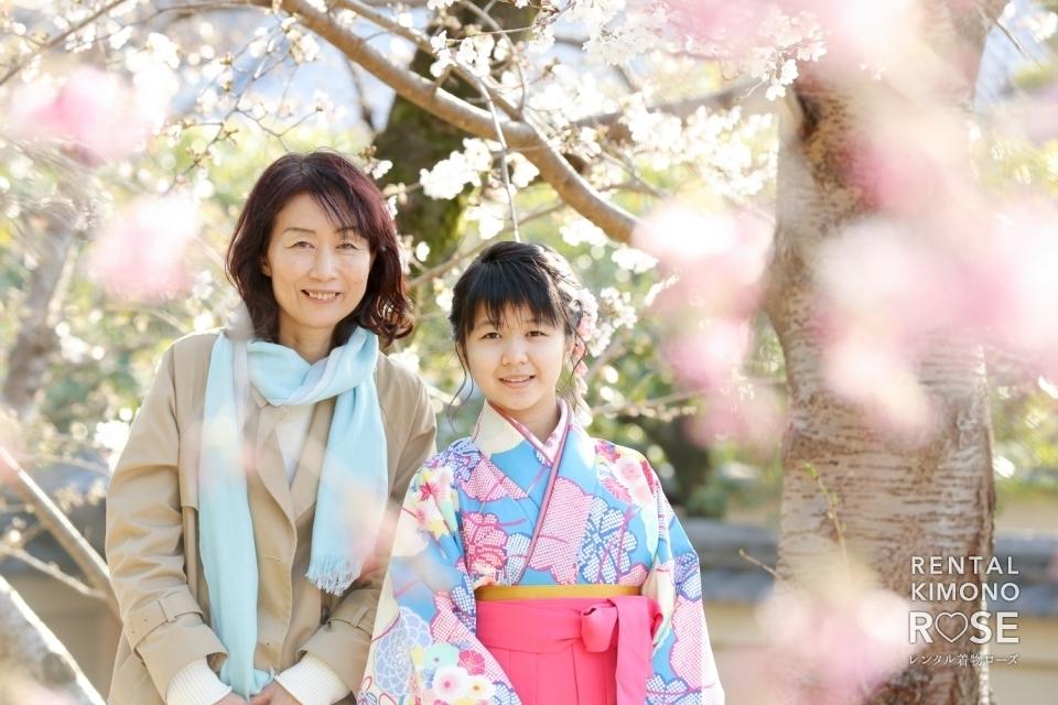 写真:京都・桜咲く高台寺で小学校卒業式当日の卒業袴レンタルの方を撮影