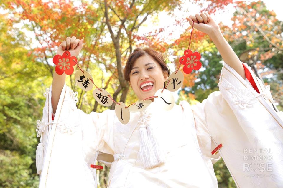 写真:白無垢姿&色打掛で婚礼ロケーション撮影 in 円山公園