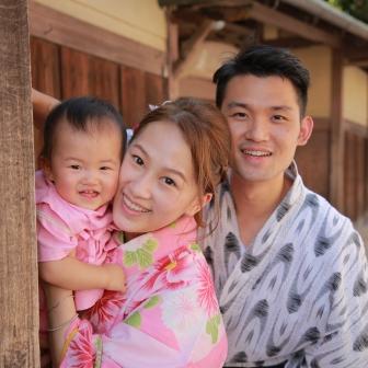 写真:香港から赤ちゃん連れのご家族様で浴衣京都旅