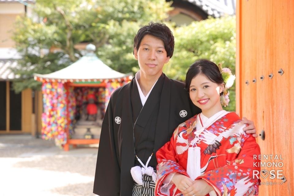 写真:京都にて白無垢・色打掛で和装前撮り婚礼ロケ撮影