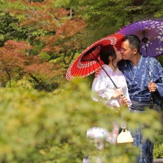 写真:香港からカップルさんで京都旅行!浴衣で東山ロケ