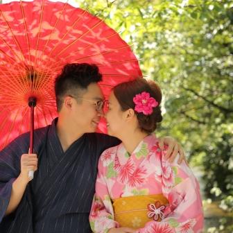写真:香港より祇園で仲良し婚約カップルのロケ撮影