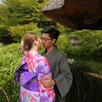 写真:香港からの新婚カップル様と京都ロケ撮影
