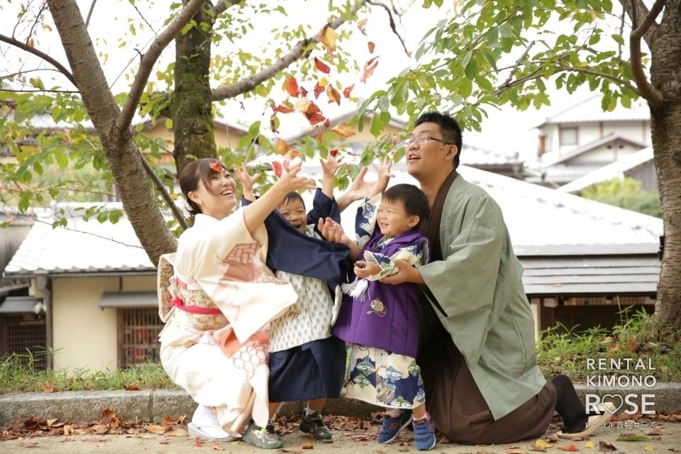 写真:京都・高台寺公園や八坂庚申堂で七五三ご家族様ロケーション撮影