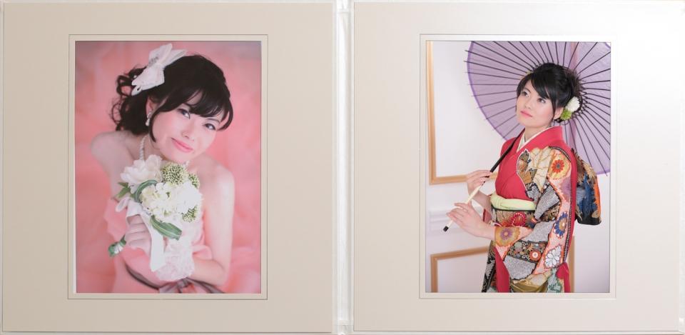 成人式振袖撮影でキャビネ写真2枚台紙付きプレゼント