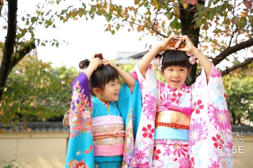 写真:京都・高台寺公園や八坂庚申堂で七五三姉妹ロケーション撮影