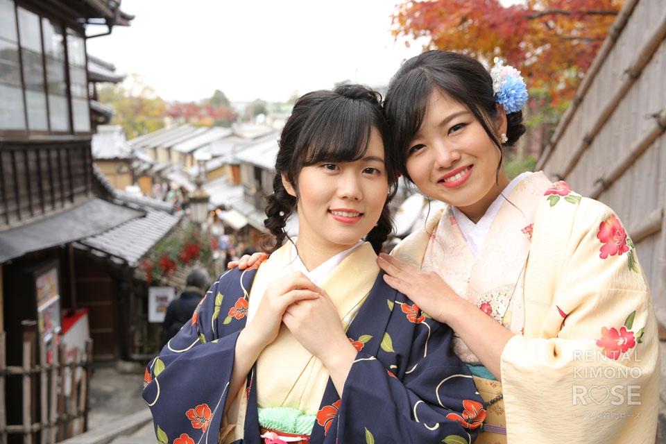 写真:リピーター様と一緒に、京都  八坂・東山エリアロケーション撮影