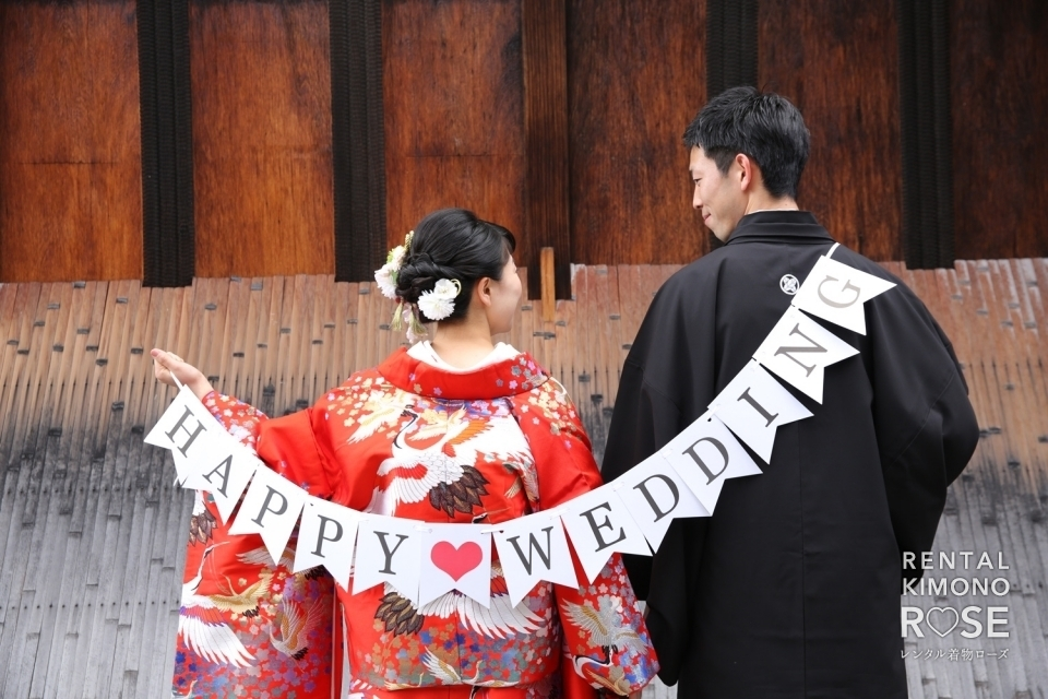 写真:京都にて色打掛で和装前撮り婚礼ロケーション撮影