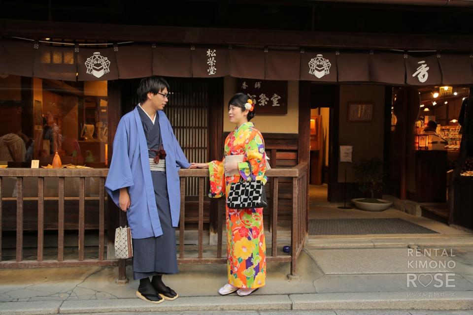 写真:しっとり着物姿で秋の東山デートをロケ撮影