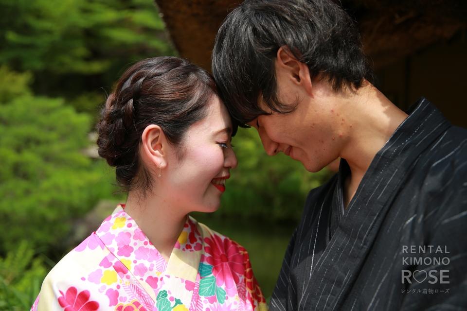 写真:素敵な仲良し若夫婦と浴衣でHAPPY東山撮影旅