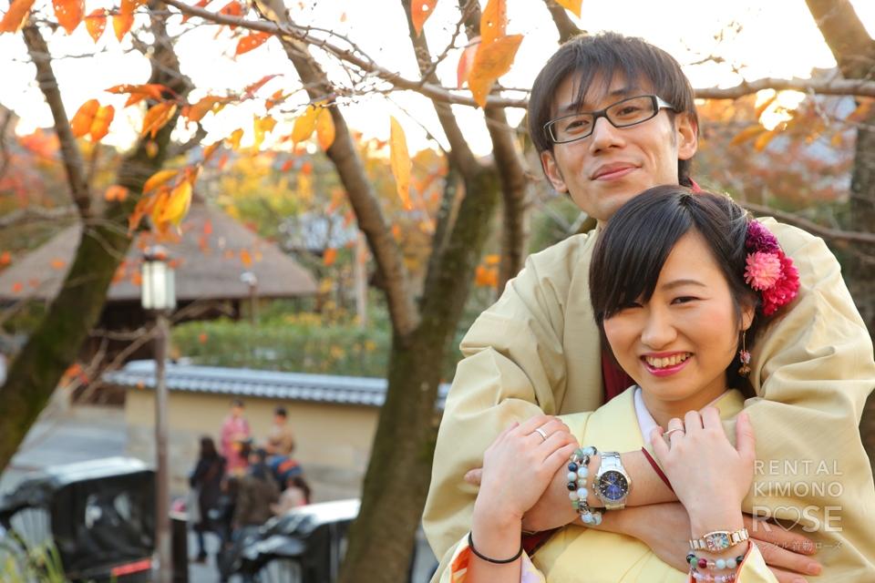 写真:二尺袖でしっとり着物美人!ご夫婦で東山ロケ撮影