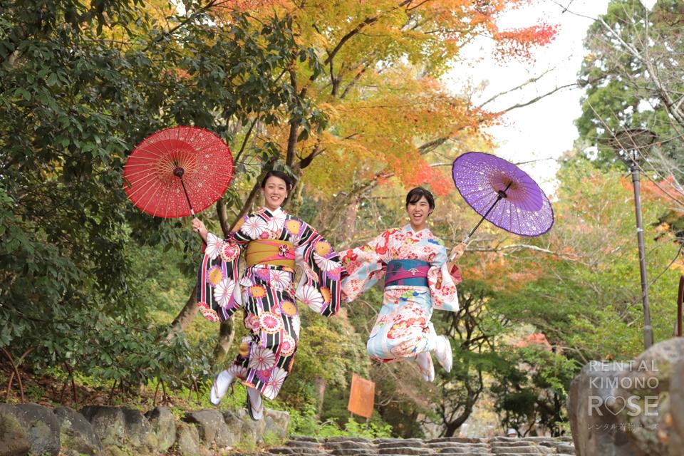 写真:女子旅×着物姿で秋の東山ロケ撮影☆