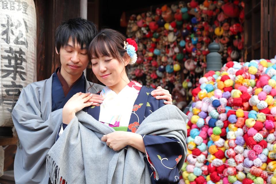 写真:冬の京都東山で着物マタニティーフォト☆
